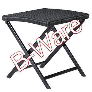 B-Ware Poly Rattan Klapphocker Fußhocker Beistelltisch Tisch klappbar Schwarz