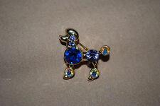 Poodle Dog Pin Brooch Goldtone Blue AB Crystals Puppy Pet Veterinarian  DG8