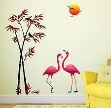 6996 | Wall Stickers Wall Decals Pink Flamingos & Bamboo at Sunset