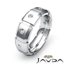 Round Diamond Ring Men Block Link Eternity Wedding Band 14k White Gold 0.24Ct