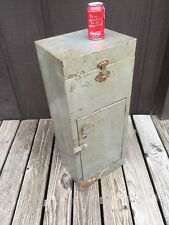 Vtg 1950's Grey Metal Locking File Storage Cabinet Industrial Steampunk