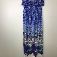 Heart & Soul Printed Maxi dress Size L Large Strapless Ruffle K11