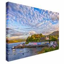 Portree before sunset Canvas Wall Art Picture Print