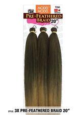 "Model Model 3X Pre-Feathered Braid 20"" Hair Braiding Extension 100% Kanekalon"