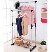 Double Heavy Duty Rail Portable Clothes Hanger Rolling Rail Garment Rack