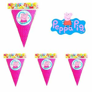 10 X Peppa Pig Party Flags Banner. Peppa Pig Birthday Party Decorations