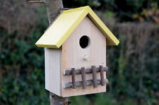 Nichoir Cabine Abris pour oiseaux en bois, Couleur bois naturel toit jaune