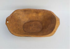 MEXICAN HAND CARVED HEAVY THICK WOODEN DEEP SERVING BOWL W HANDLES n