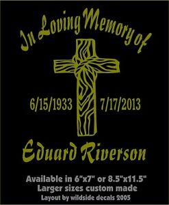 In Loving Memory of Decal Old Rugged Cross Name Dates Memorial