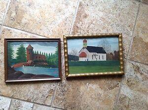 vintage estate miniature set of oil paintings by artist St. Huber 1923 German