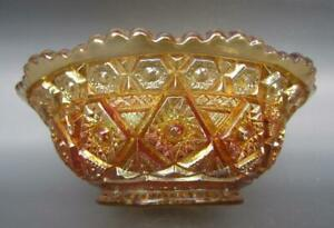 "Imperial DIAMOND LACE Marigold Carnival Glass Round 4½"" Berry Bowl 6268"