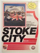 Stoke City v West Bromwich Albion 12.3.85 Div 1 WBA Programme