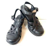 BOC Born Black Leather Clog Sandals Womens Size 7 M Mary Jane Black Ankle Strap