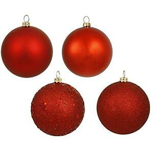 "Vickerman Christmas Balls 4-Finish Ornament Set, Includes 32 Per Box, 3"" Red"