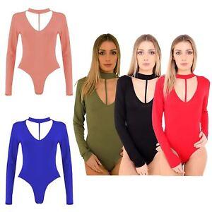 New Womens V Neck Chocker String Split Strappy Leotard Bodysuit Top
