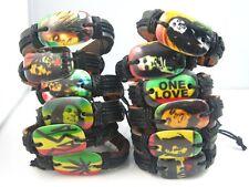12 x different Bob Marley Reggae Music Jamaica Rasta leather bracelets free post