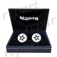 New Men's Cufflinks cuff links round mother of pearl black white star pattern
