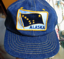 New Alaska Flag Vintage Denim Hat Cap Snap Back Embroidered Patch Logo Farmer