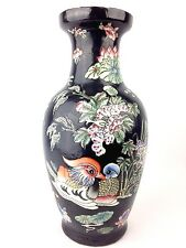 "Black Color Flower & Bird Design Porcelain Vase 14"" Tall x 7"" Wide Asian"