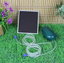 Day/Night Solar Powered Oxygenator Oxygen Air Fish Pond Pool Pump 2 air stone
