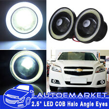 "2.5"" Car Fog Light COB LED Projector White Angel Eye Halo Ring DRL Driving Bulbs"