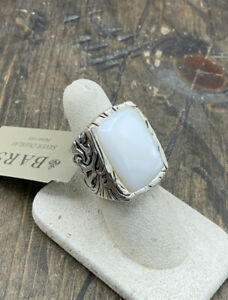 Barse Jacquard Ring-Mother of Pearl- Silver Overlay- 7.5-NWT