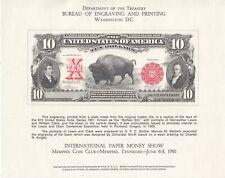 BEP 1980 10 Dollar Note Mint Memphis Souvenir card