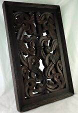 "VINTAGE MIRROR WOOD CARVED WALL HANGING PANEL BLACK FOREST STYLE 22"" X 13"""