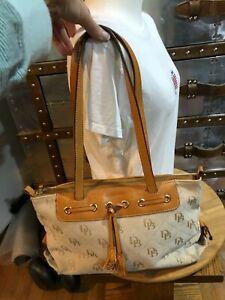 Dooney Bourke Large DB Tassel Zip Top Tote Sand Tan Canvas Saddle Tan Leather