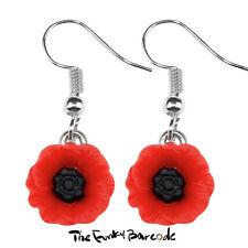 TFB - POPPY DAY 12mm MINI DANGLE EARRINGS Drop War Cute Sweet Flower Retro