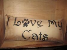 Primitive Stenciled Pillow - I love my cats