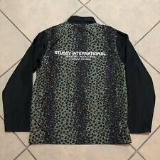 STUSSY LEOPARD PANEL ZIP UP JACKET BLACK SIZE SMALL NEW WITH TAGS