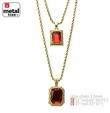 """14k Gold Plated Double Red Ruby 22""""&27"""" Combo Pendant Chain Necklace MHC 214 G"""