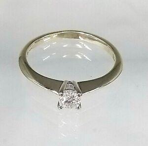 Stunning 9ct Yellow Gold .20ct Diamond Solitaire Engagement Ring (Real Diamond)