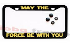 MAY THE FORCE BE WITH YOU Black license plate frame +Screw Caps Star Wars Fan