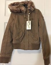 Abercrombie and Fitch Parka Bomber Khaki Brown Hooded Fake Fur Zip Up Jacket M