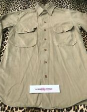 French Army Ww2 1930s Rare Soldier Military Shirt & Gussets~Cotton Gabardine~S/M
