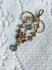 More details for antique 9ct gold blue topaz lavaliere pendant