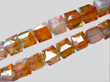 50ps Half Opal White Wine Red Glass Faceted Cube Beads 6mm Spacer Findings