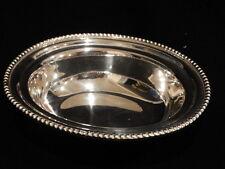 "Vintage Small Silverplate Oval Bowl, 6.5"" x 5.5"" x 2"" w/ Beaded Rim"