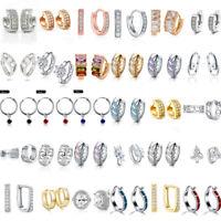 Women Love Heart Cubic Zirconia Crystal Rhinestone Huggie Hoop Earrings Jewelry