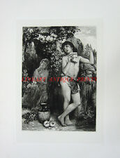 NAKED NUDE YOUNG BOY PLAYS PAN FLUTE ~ Old 1883 Mythology Art Print Engraving