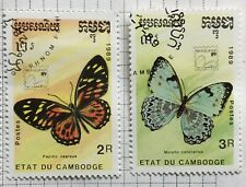 Kampuchea stamps (Cambodia) - White Morpho 3r & Butterfly 2r 1989