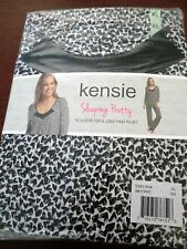 KENSIE PAJAMAS 3/4 SLEEVE top & Long Pant WHITE & BLACK WOMENS size Xlarge NWT'S