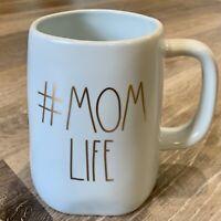 "New RAE DUNN Artisan Collection LL ""#MOM LIFE "" Mug Blue Gold Large Letters HTF"