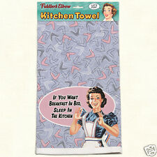 Fiddlers Elbow Cotton Kitchen Towel Breakfast In Bed Retro Made In USA New
