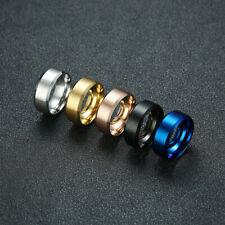 Stainless Steel 8mm Ring Men's Wedding Band Titanium Silver Black Gold Sz5-13