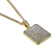 "Gold Plated Rhinestone Pave Pendant Unisex Hip Hop Necklace 27"" Chain Jewelry"
