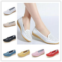 New Women genuine leather shoes cutout loafers slip on ballet flats Casual Shoes