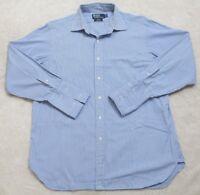 Ralph Lauren Dress Shirt Long Sleeve Large 16.5 33 Cotton Mens Blue White Curham